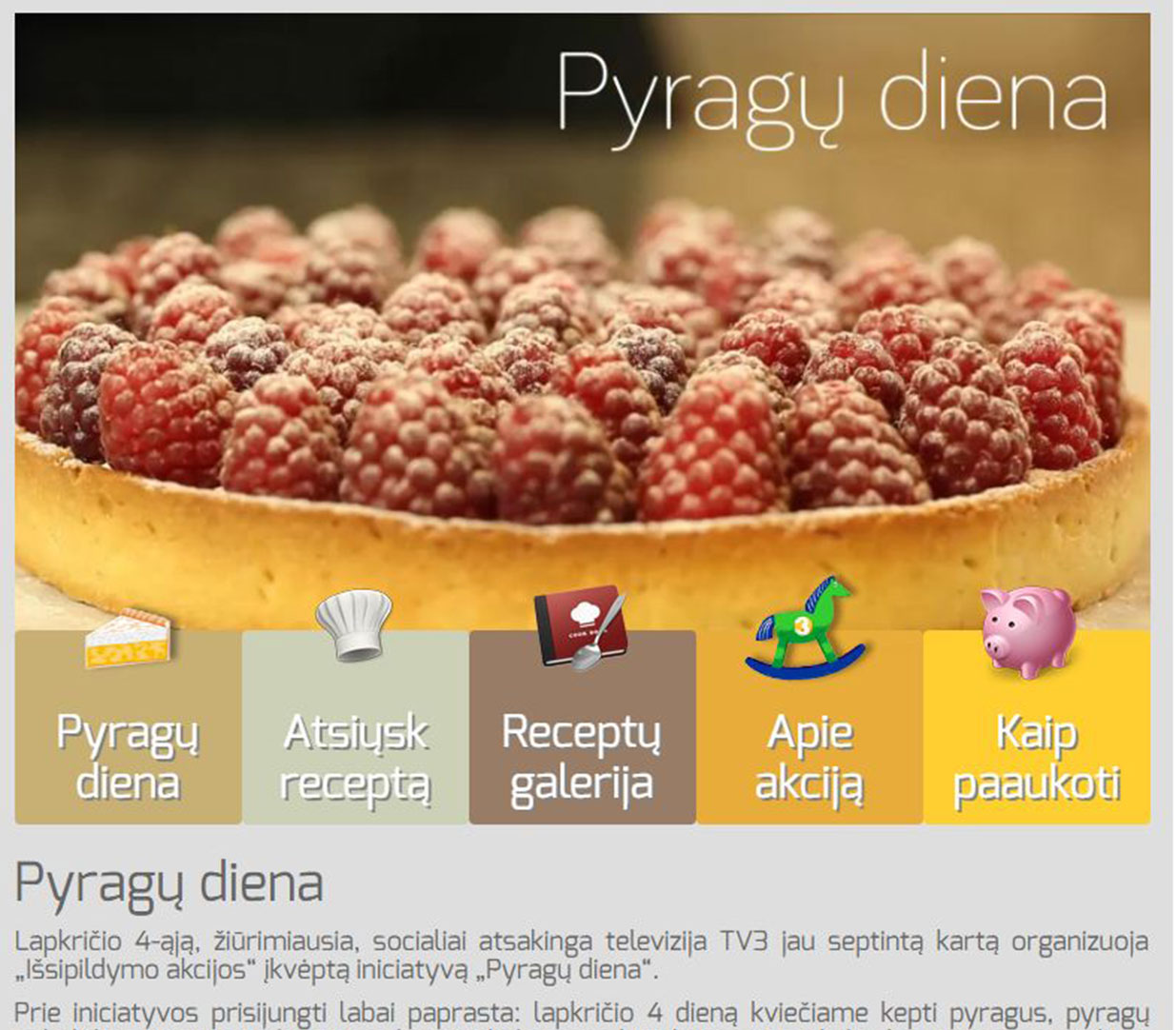 Pyragų diena - A cake day landing page for charity